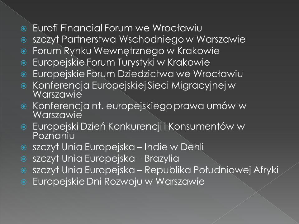 Eurofi Financial Forum we Wrocławiu szczyt Partnerstwa Wschodniego w Warszawie Forum Rynku Wewnętrznego w Krakowie Europejskie Forum Turystyki w Krako