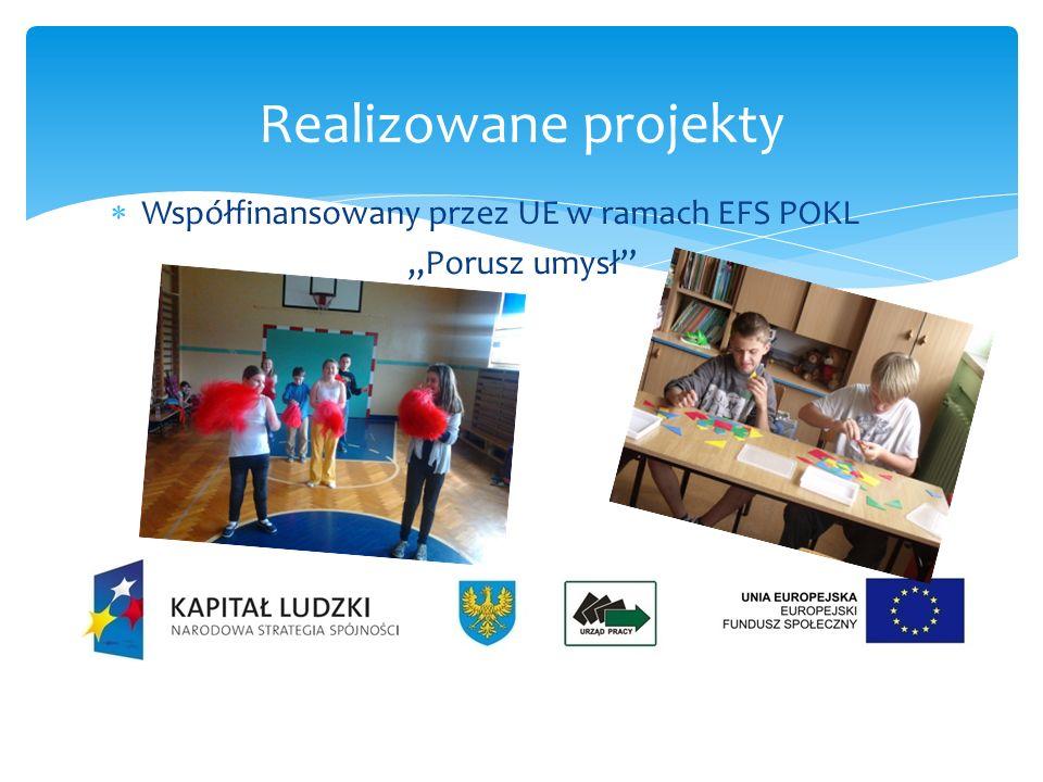 Współfinansowany przez UE w ramach EFS POKL Wyżej, dalej, prędzej Realizowane projekty