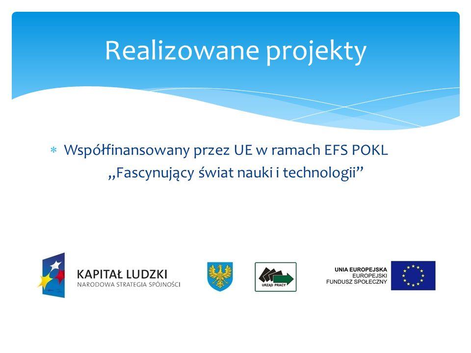 Współfinansowany przez UE w ramach EFS POKL Edukacja ku przyszłości – NTUE Realizowane projekty