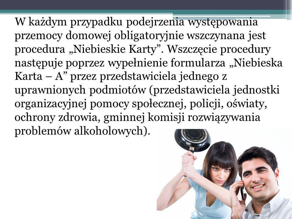 W każdym przypadku podejrzenia występowania przemocy domowej obligatoryjnie wszczynana jest procedura Niebieskie Karty.