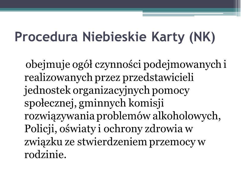 Procedura Niebieskie Karty (NK) obejmuje ogół czynności podejmowanych i realizowanych przez przedstawicieli jednostek organizacyjnych pomocy społecznej, gminnych komisji rozwiązywania problemów alkoholowych, Policji, oświaty i ochrony zdrowia w związku ze stwierdzeniem przemocy w rodzinie.