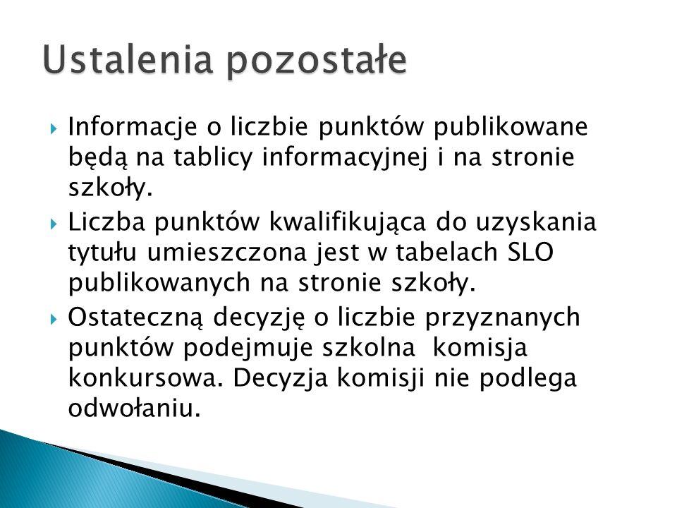 Informacje o liczbie punktów publikowane będą na tablicy informacyjnej i na stronie szkoły.