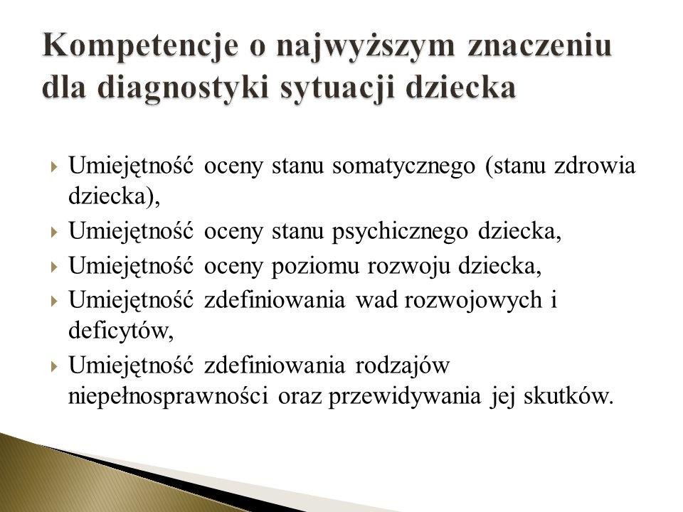 Umiejętność oceny stanu somatycznego (stanu zdrowia dziecka), Umiejętność oceny stanu psychicznego dziecka, Umiejętność oceny poziomu rozwoju dziecka,