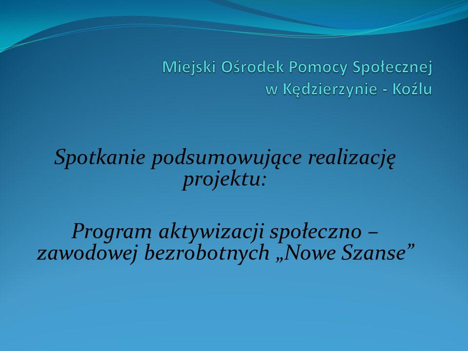 Spotkanie podsumowujące realizację projektu: Program aktywizacji społeczno – zawodowej bezrobotnych Nowe Szanse