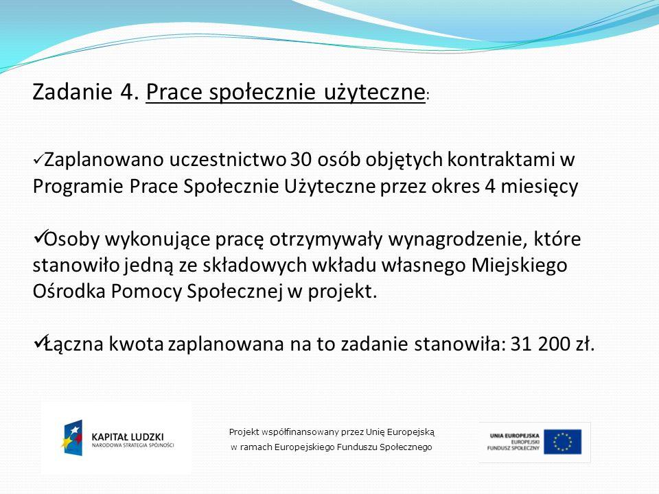 Zadanie 4. Prace społecznie użyteczne : Zaplanowano uczestnictwo 30 osób objętych kontraktami w Programie Prace Społecznie Użyteczne przez okres 4 mie