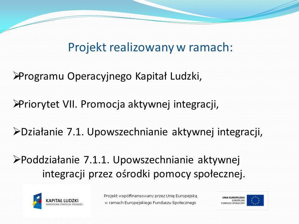 Projekt realizowany w ramach: Programu Operacyjnego Kapitał Ludzki, Priorytet VII. Promocja aktywnej integracji, Działanie 7.1. Upowszechnianie aktywn