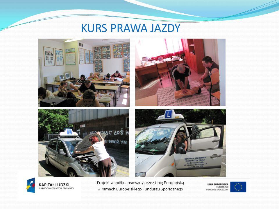 Projekt współfinansowany przez Unię Europejską w ramach Europejskiego Funduszu Społecznego KURS PRAWA JAZDY