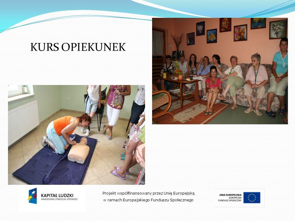 Projekt współfinansowany przez Unię Europejską w ramach Europejskiego Funduszu Społecznego KURS OPIEKUNEK