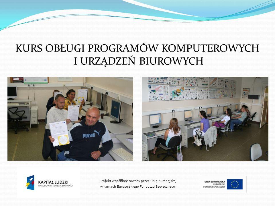 KURS OBŁUGI PROGRAMÓW KOMPUTEROWYCH I URZĄDZEŃ BIUROWYCH Projekt współfinansowany przez Unię Europejską w ramach Europejskiego Funduszu Społecznego