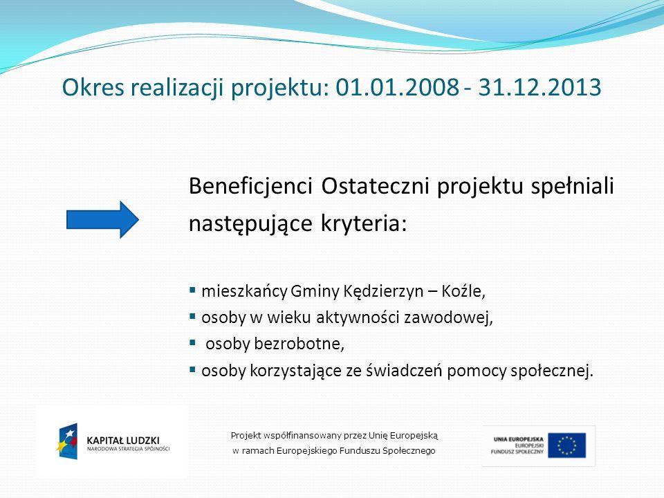 Okres realizacji projektu: 01.01.2008 - 31.12.2013 Beneficjenci Ostateczni projektu spełniali następujące kryteria: mieszkańcy Gminy Kędzierzyn – Koźl