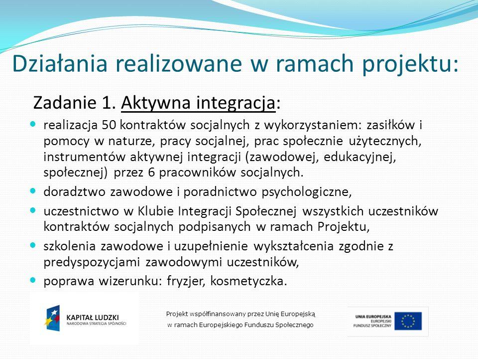 Działania realizowane w ramach projektu: Zadanie 1. Aktywna integracja: realizacja 50 kontraktów socjalnych z wykorzystaniem: zasiłków i pomocy w natu
