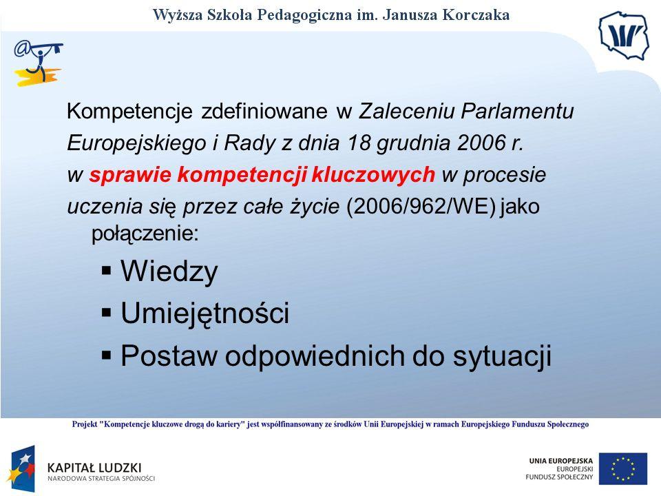 Kompetencje zdefiniowane w Zaleceniu Parlamentu Europejskiego i Rady z dnia 18 grudnia 2006 r. w sprawie kompetencji kluczowych w procesie uczenia się