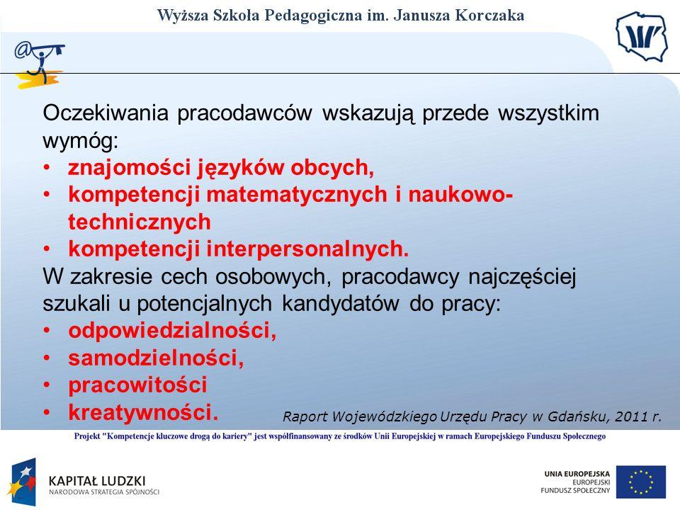 Oczekiwania pracodawców wskazują przede wszystkim wymóg: znajomości języków obcych, kompetencji matematycznych i naukowo- technicznych kompetencji int