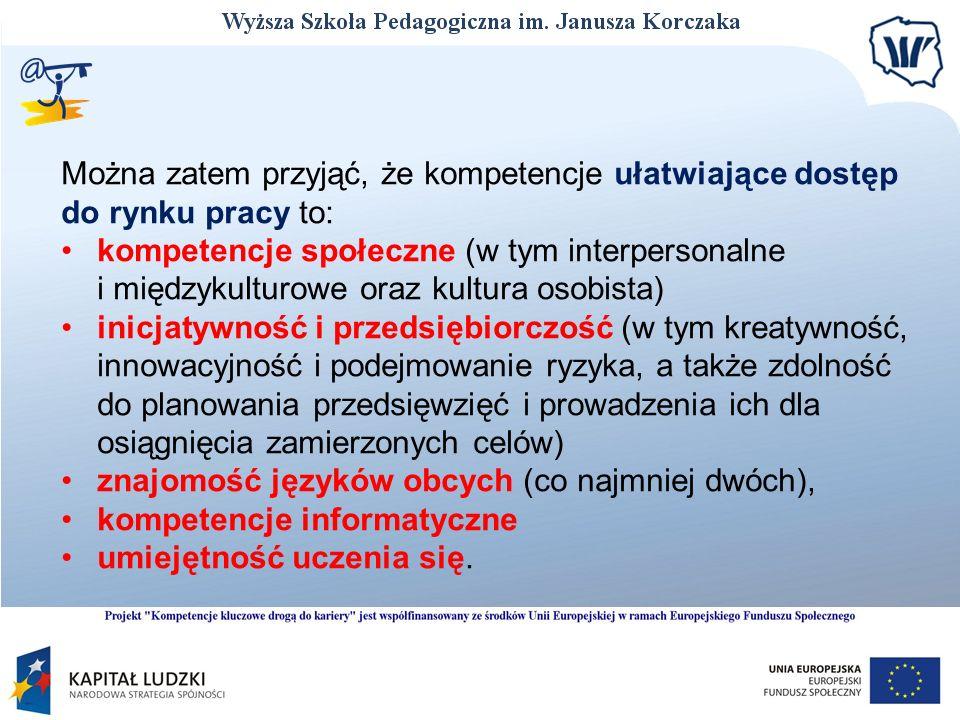 Można zatem przyjąć, że kompetencje ułatwiające dostęp do rynku pracy to: kompetencje społeczne (w tym interpersonalne i międzykulturowe oraz kultura