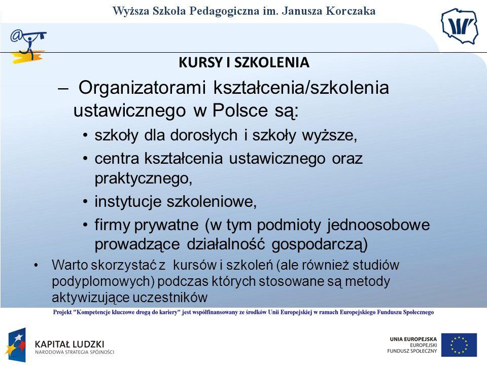 KURSY I SZKOLENIA – Organizatorami kształcenia/szkolenia ustawicznego w Polsce są: szkoły dla dorosłych i szkoły wyższe, centra kształcenia ustawiczne