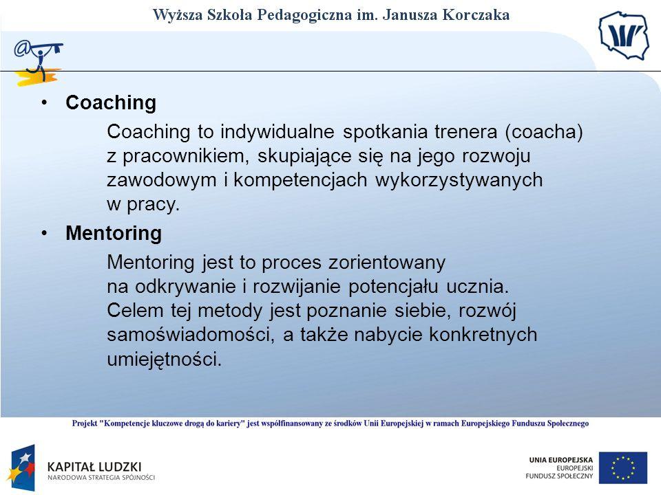 Coaching Coaching to indywidualne spotkania trenera (coacha) z pracownikiem, skupiające się na jego rozwoju zawodowym i kompetencjach wykorzystywanych