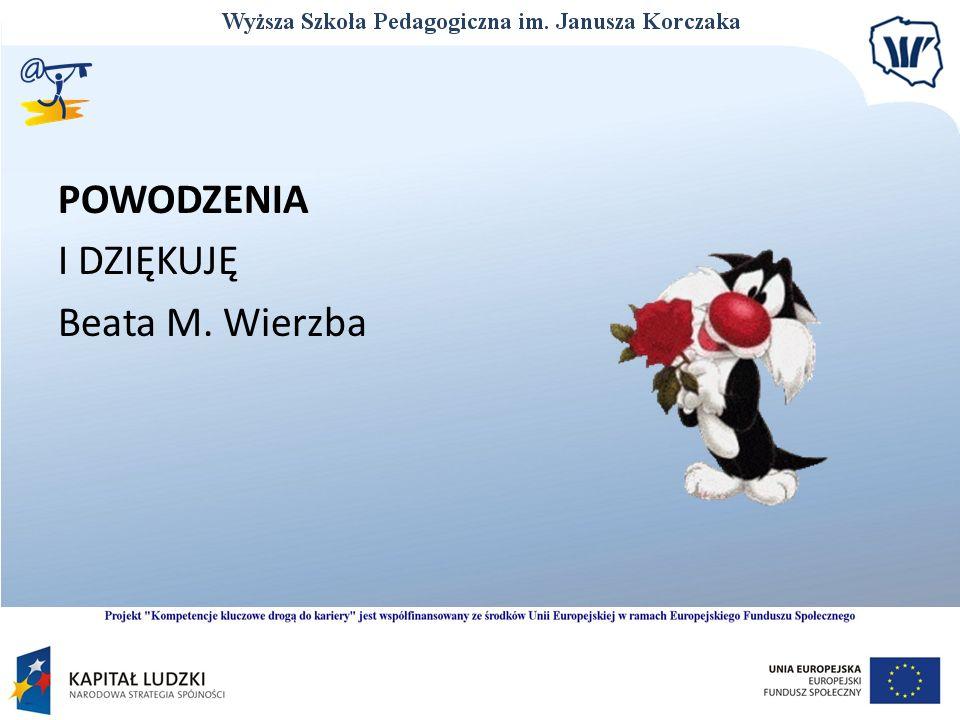 POWODZENIA I DZIĘKUJĘ Beata M. Wierzba