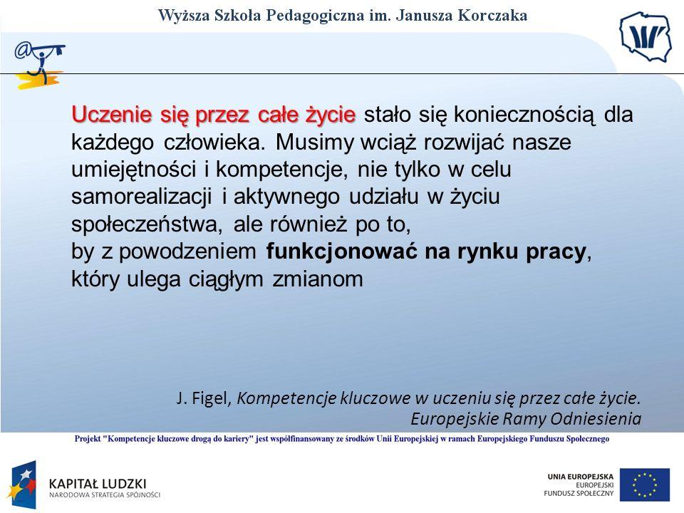 J. Figel, Kompetencje kluczowe w uczeniu się przez całe życie. Europejskie Ramy Odniesienia Uczenie się przez całe życie Uczenie się przez całe życie