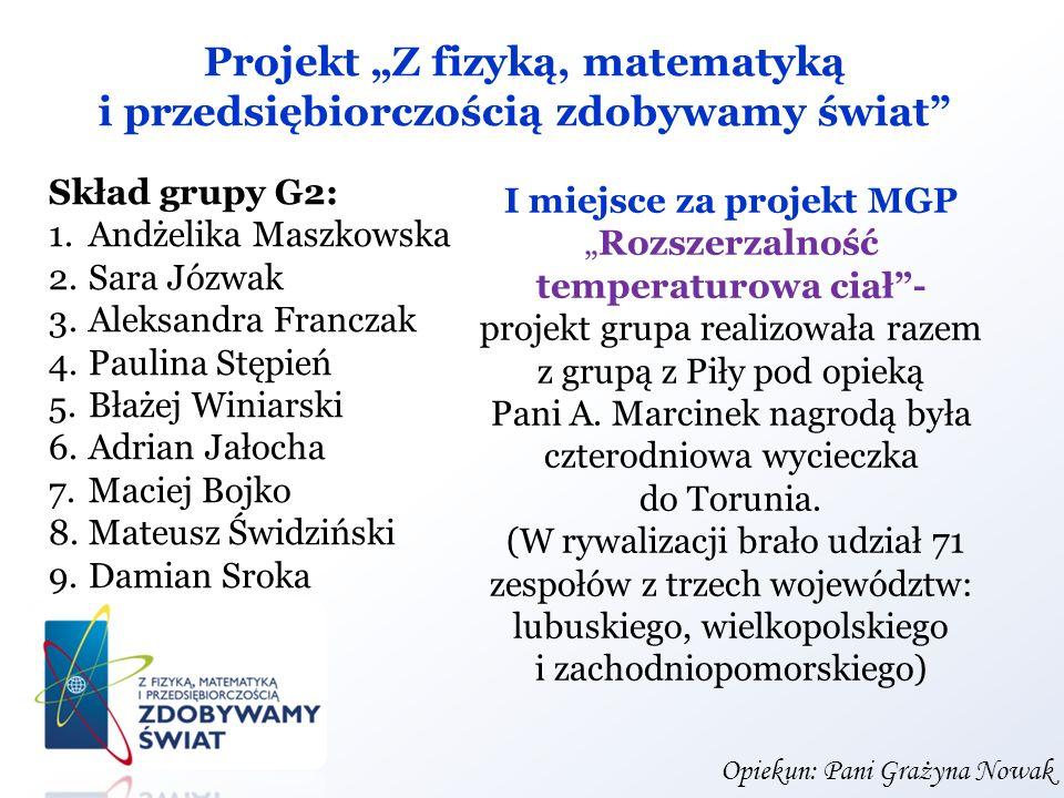 Projekt Z fizyką, matematyką i przedsiębiorczością zdobywamy świat Skład grupy G2: 1.Andżelika Maszkowska 2.Sara Józwak 3.Aleksandra Franczak 4.Paulin
