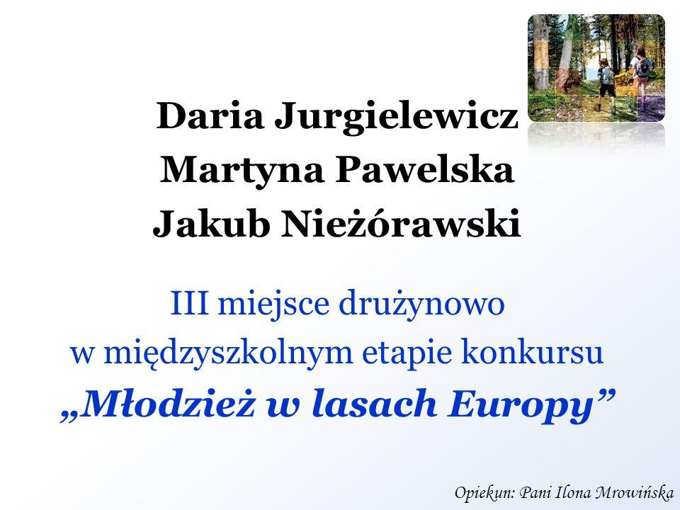 Daria Jurgielewicz Martyna Pawelska Jakub Nieżórawski III miejsce drużynowo w międzyszkolnym etapie konkursu Młodzież w lasach Europy Opiekun: Pani Il