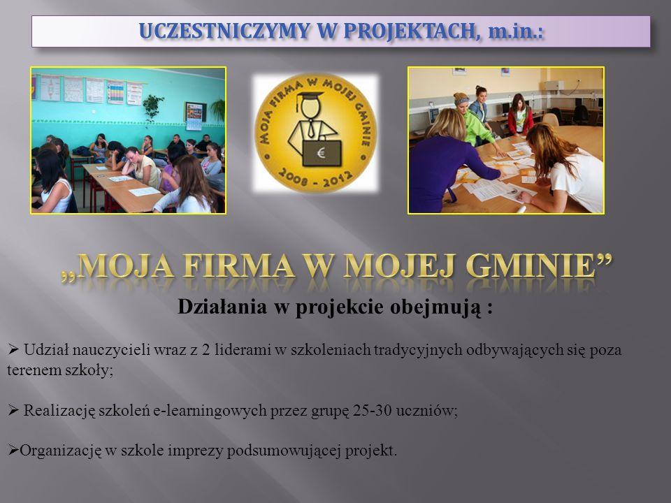 UCZESTNICZYMY W PROJEKTACH, m.in.: Działania w projekcie obejmują : Udział nauczycieli wraz z 2 liderami w szkoleniach tradycyjnych odbywających się p