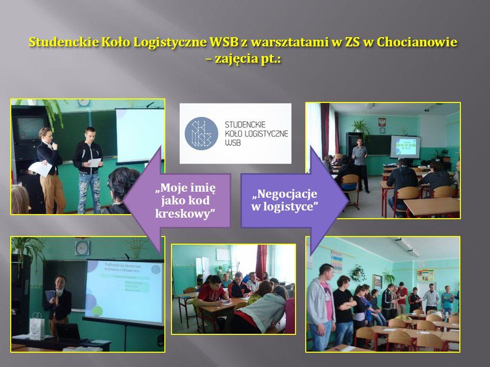 Studenckie Koło Logistyczne WSB z warsztatami w ZS w Chocianowie – zajęcia pt.: Moje imię jako kod kreskowy Negocjacje w logistyce