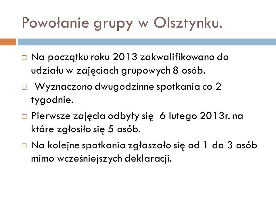 Powołanie grupy w Olsztynku. Na początku roku 2013 zakwalifikowano do udziału w zajęciach grupowych 8 osób. Wyznaczono dwugodzinne spotkania co 2 tygo