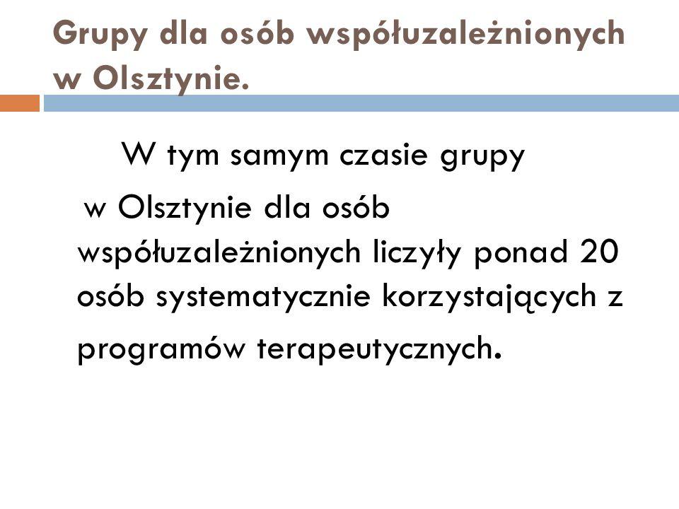 Grupy dla osób współuzależnionych w Olsztynie. W tym samym czasie grupy w Olsztynie dla osób współuzależnionych liczyły ponad 20 osób systematycznie k