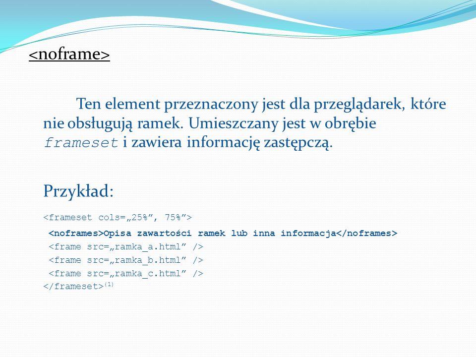 Definiuje ramkę wpisaną w obrębie strony WWW.