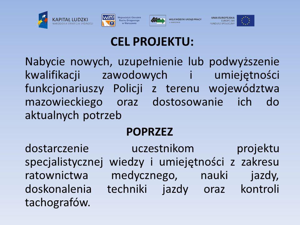CEL PROJEKTU: Nabycie nowych, uzupełnienie lub podwyższenie kwalifikacji zawodowych i umiejętności funkcjonariuszy Policji z terenu województwa mazowi