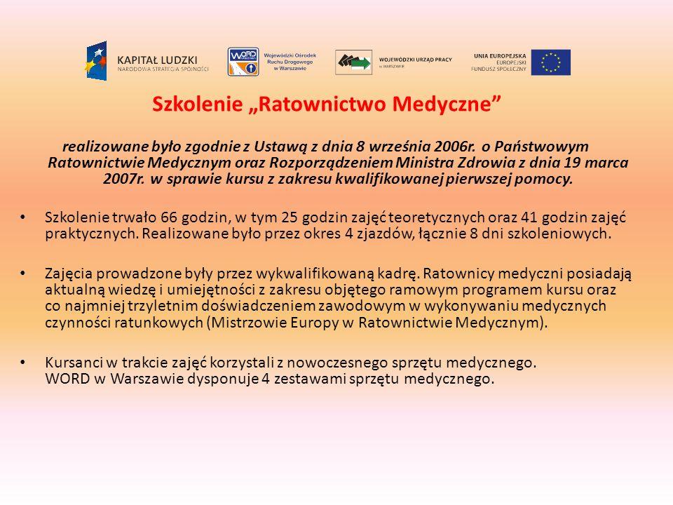 Szkolenie Ratownictwo Medyczne realizowane było zgodnie z Ustawą z dnia 8 września 2006r. o Państwowym Ratownictwie Medycznym oraz Rozporządzeniem Min