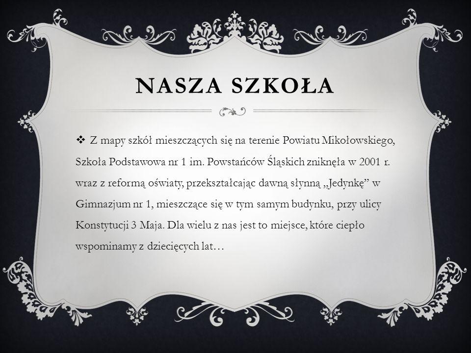 NASZA SZKOŁA Z mapy szkół mieszczących się na terenie Powiatu Mikołowskiego, Szkoła Podstawowa nr 1 im. Powstańców Śląskich zniknęła w 2001 r. wraz z