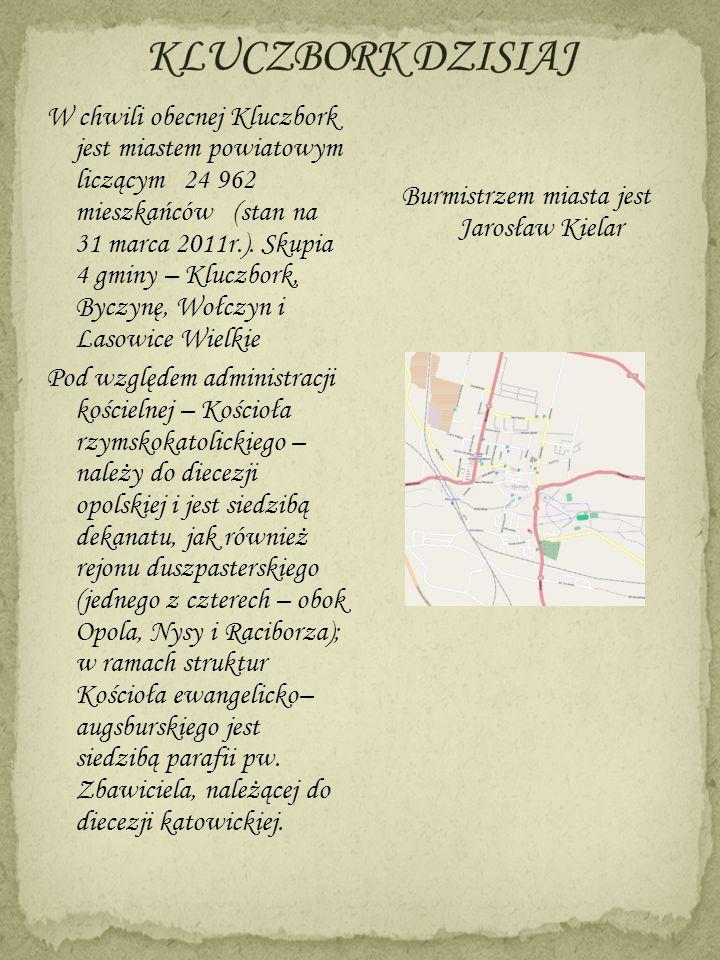 W chwili obecnej Kluczbork jest miastem powiatowym liczącym 24 962 mieszkańców (stan na 31 marca 2011r.). Skupia 4 gminy – Kluczbork, Byczynę, Wołczyn