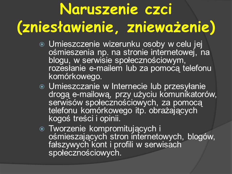 Naruszenie czci (zniesławienie, znieważenie) Umieszczenie wizerunku osoby w celu jej ośmieszenia np. na stronie internetowej, na blogu, w serwisie spo