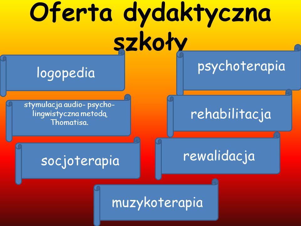 Oferta dydaktyczna szkoły psychoterapia rehabilitacja rewalidacja logopedia muzykoterapia stymulacja audio- psycho- lingwistyczna metodą Thomatisa. so