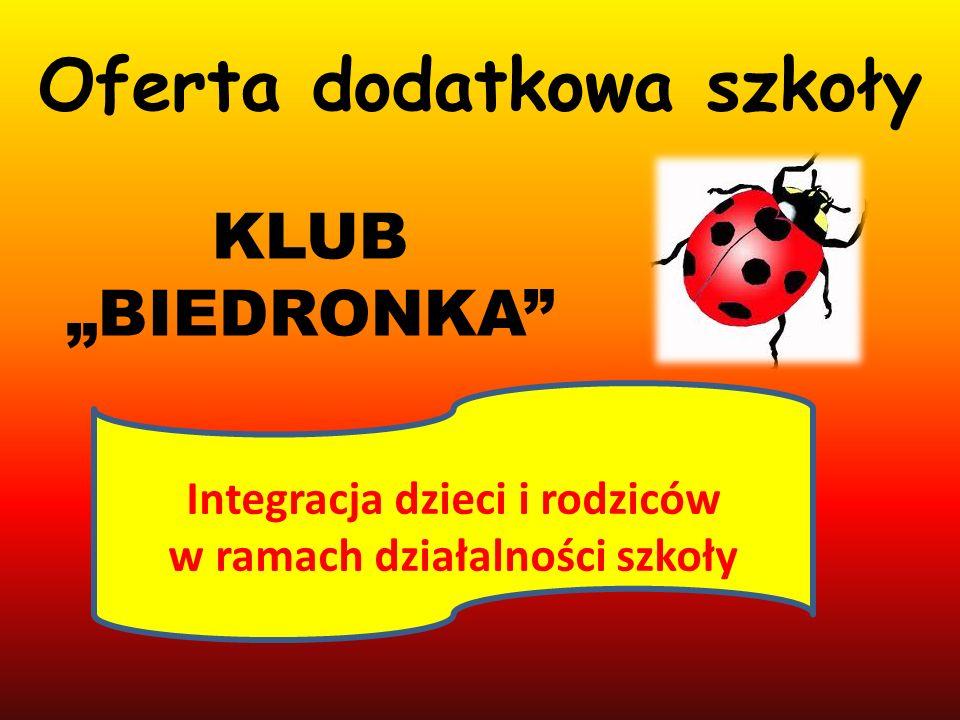 Oferta dodatkowa szkoły KLUB BIEDRONKA Integracja dzieci i rodziców w ramach działalności szkoły