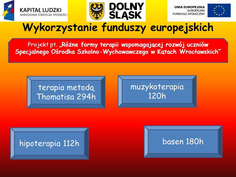 Wykorzystanie funduszy europejskich Projekt pt. Różne formy terapii wspomagającej rozwój uczniów Specjalnego Ośrodka Szkolno-Wychowawczego w Kątach Wr