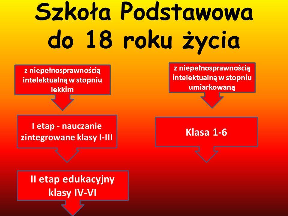 Szkoła Podstawowa do 18 roku życia z niepełnosprawnością intelektualną w stopniu lekkim I etap - nauczanie zintegrowane klasy I-III II etap edukacyjny