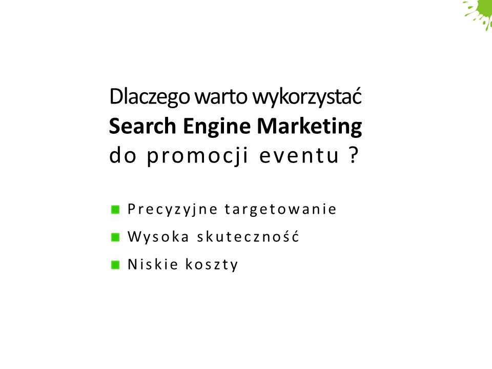 Dlaczego warto wykorzystać Search Engine Marketing do promocji eventu ? Precyzyjne targetowanie Wysoka skuteczność Niskie koszty