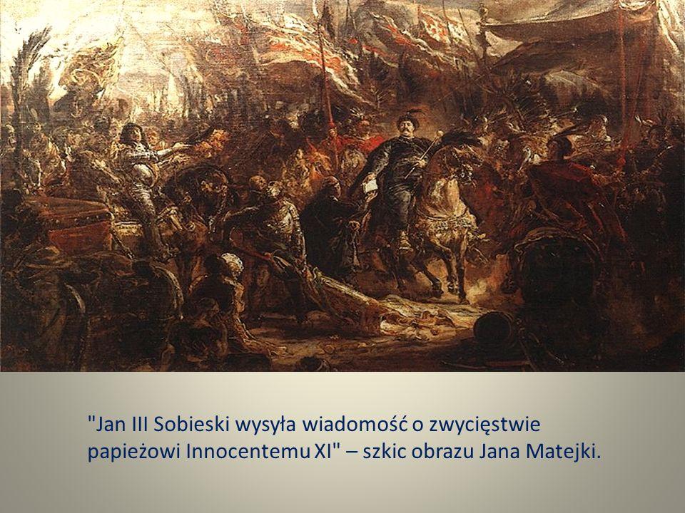 Jan III Sobieski wysyła wiadomość o zwycięstwie papieżowi Innocentemu XI – szkic obrazu Jana Matejki.