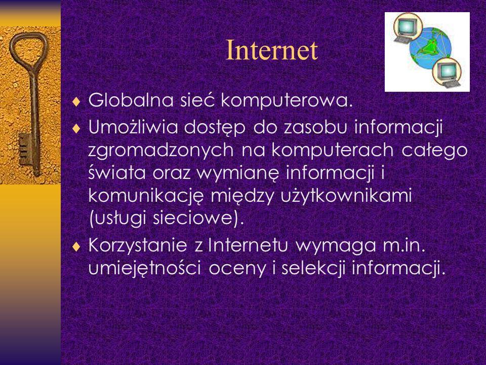 Internet Globalna sieć komputerowa. Umożliwia dostęp do zasobu informacji zgromadzonych na komputerach całego świata oraz wymianę informacji i komunik