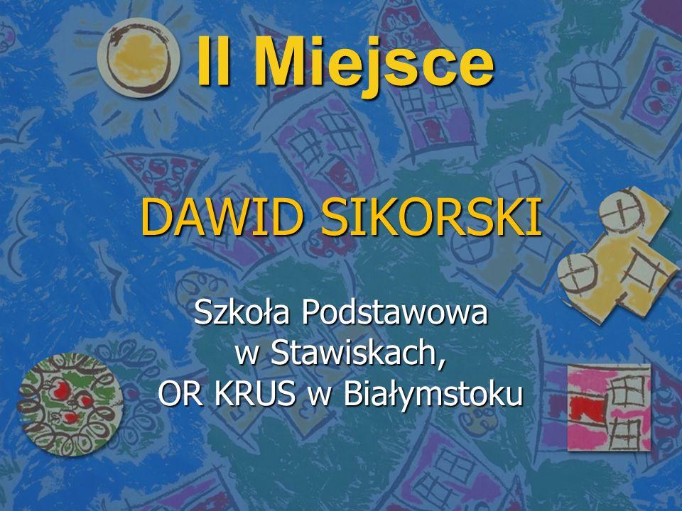 II Miejsce DAWID SIKORSKI Szkoła Podstawowa w Stawiskach, OR KRUS w Białymstoku