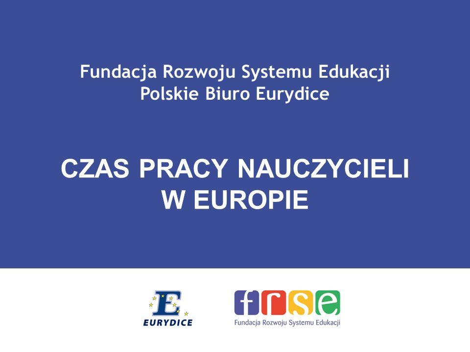 Fundacja Rozwoju Systemu Edukacji Polskie Biuro Eurydice CZAS PRACY NAUCZYCIELI W EUROPIE