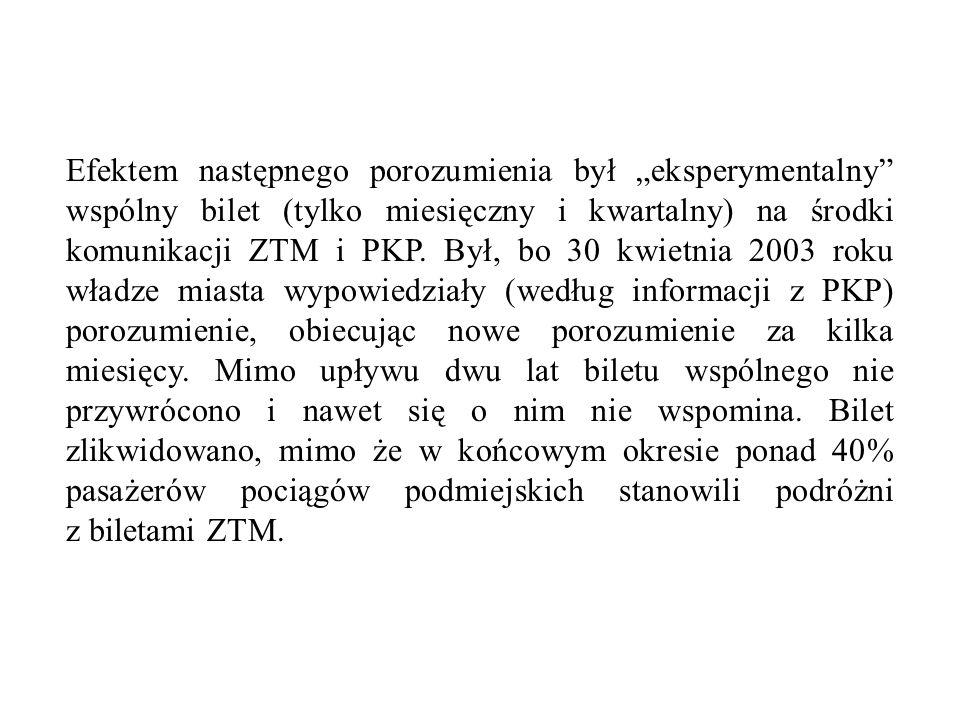 Efektem następnego porozumienia był eksperymentalny wspólny bilet (tylko miesięczny i kwartalny) na środki komunikacji ZTM i PKP. Był, bo 30 kwietnia