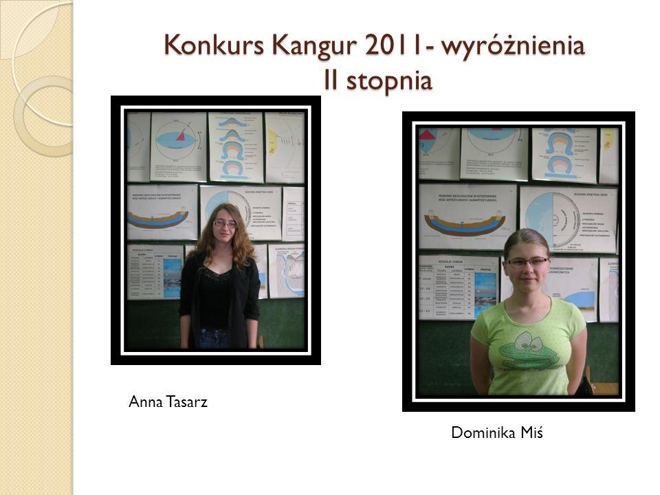 Konkurs Kangur 2011- wyróżnienia II stopnia Anna Tasarz Dominika Miś