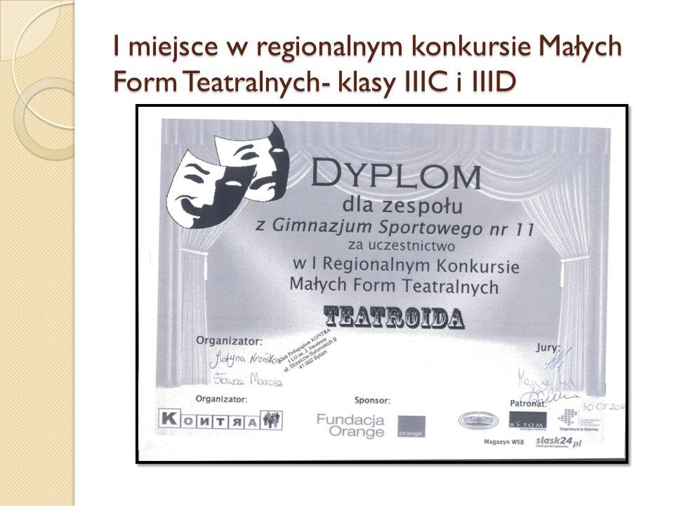 I miejsce w regionalnym konkursie Małych Form Teatralnych- klasy IIIC i IIID