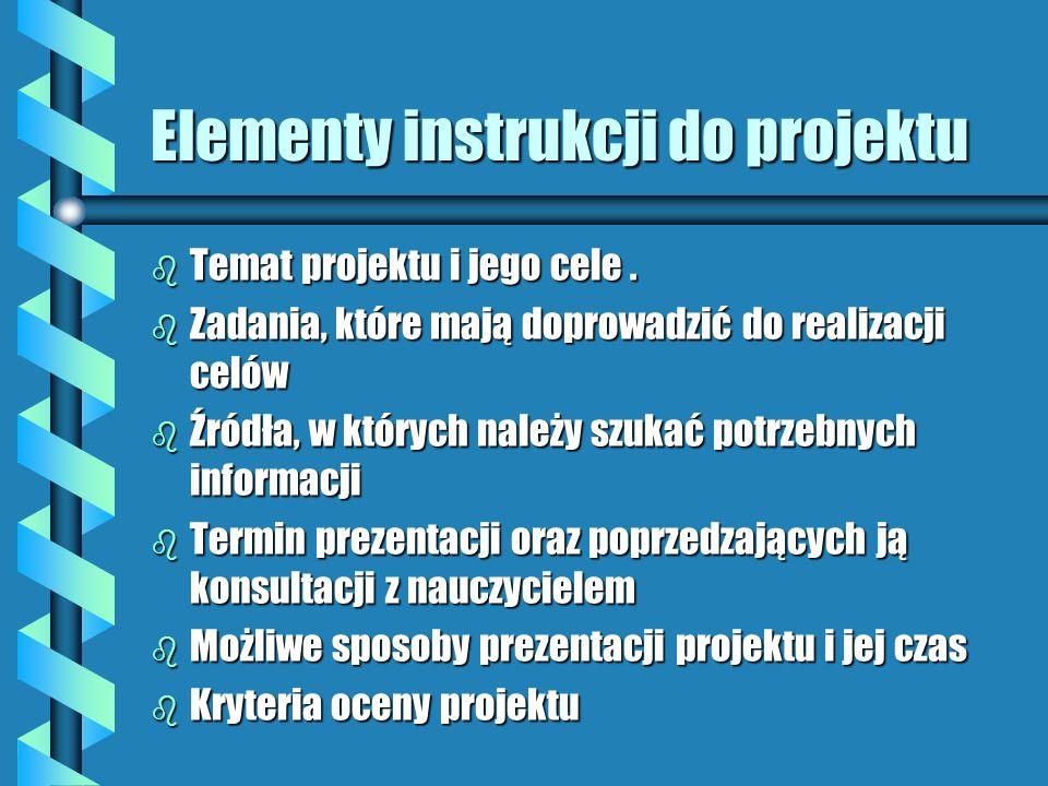 Różne metody pracy metodą projektu b A dla starych wyjadaczy... - wprowadzenie projektu indywidualnego ( np. w formie prac semestralnych) - temat proj