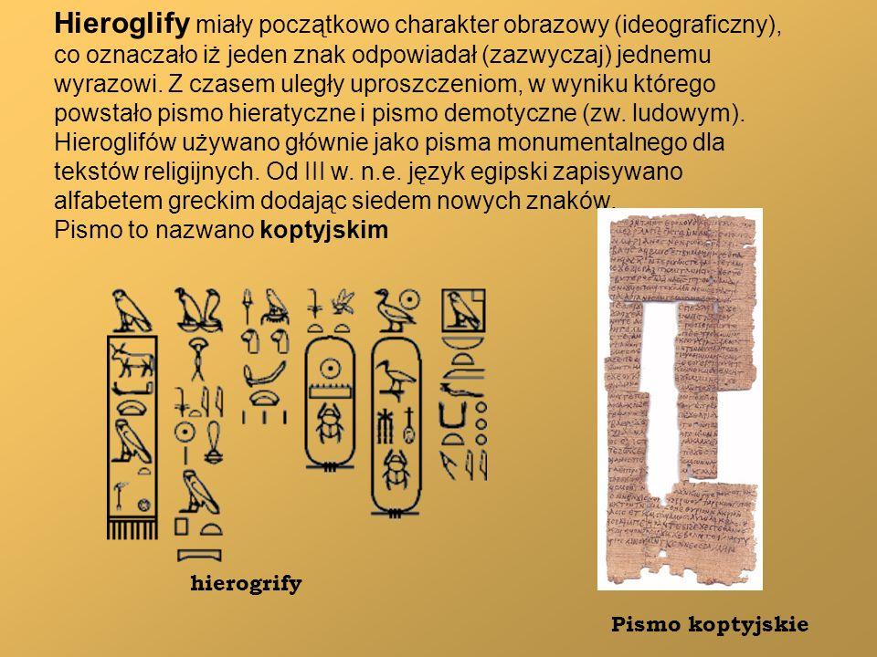Hieroglify miały początkowo charakter obrazowy (ideograficzny), co oznaczało iż jeden znak odpowiadał (zazwyczaj) jednemu wyrazowi. Z czasem uległy up