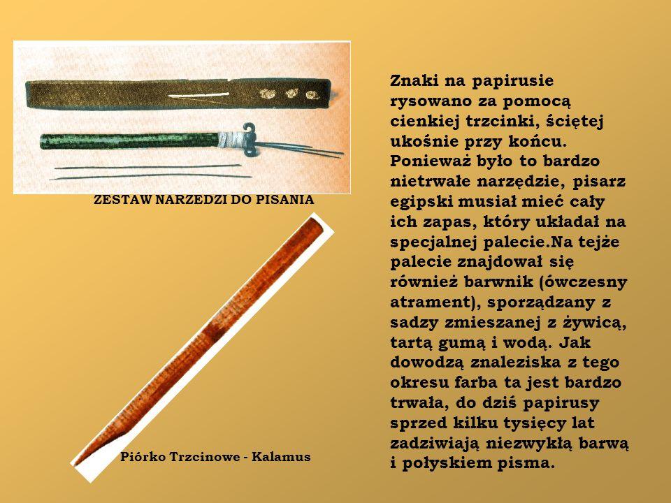 Znaki na papirusie rysowano za pomocą cienkiej trzcinki, ściętej ukośnie przy końcu. Ponieważ było to bardzo nietrwałe narzędzie, pisarz egipski musia