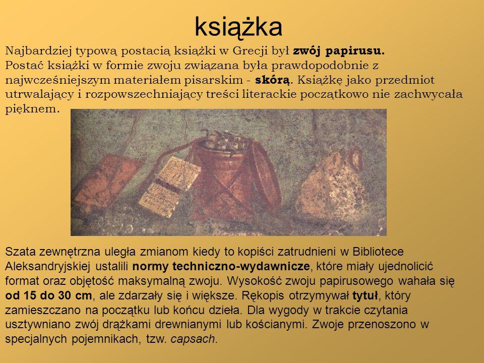 książka Najbardziej typową postacią książki w Grecji był zwój papirusu. Postać książki w formie zwoju związana była prawdopodobnie z najwcześniejszym